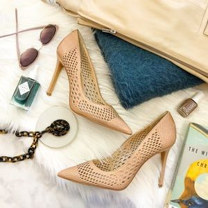 Vince Camuto Tan Perforated Leather Pumps